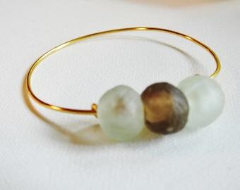 Africa Trade Bead Bangle, Beach Bracelet, Adjustable Gold Bangle, Graduate Gift, Sea Glass Look, Ghana Trade Bead Jewelry, Lucky Sea Glass