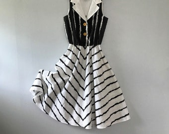 Black and white stripe dress corcle skirt summer dress