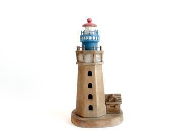 Handmade Wooden Lighthouse, Vintage Beach House Decor