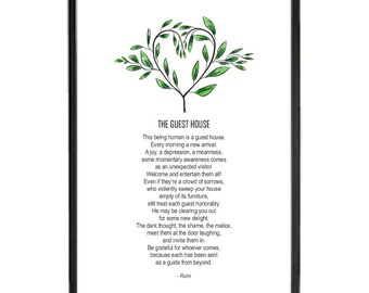 The Guest House by Rumi, favourite poem, natural living, spiritual inspiration, uplifting energy, instant download, picture gift, home decor