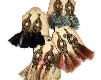 Chandelier tassel earrings, Long drop earrings, Antique gold tassel earrings, Boho earrings, Tassel earrings, Trendy earrings