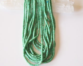 Seed Beads Green Turquoise Afghan Small Matte Finish Heishi Colour Green Perfect For Summer Size 2mm Strand 12 inch 30cm