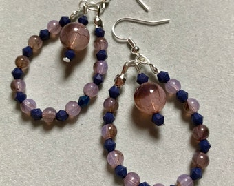 Pink and Navy Dangle Earrings