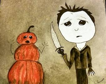 Pumpkin, man, Halloween, sad eyes, watercolor