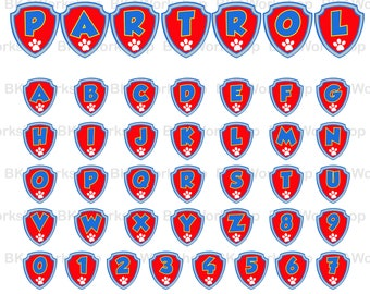 Paw Patrol alphabet with shield svg - Paw Patrol alphabet with shield digital clipart for Design or more, files download svg, png, dxf