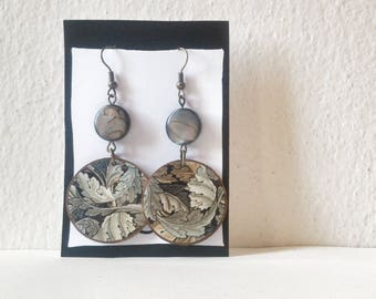 Pow! - William Morris - Paper on Wood earrings - earrings with beads - flowers