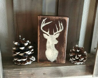 Deer head wood block.