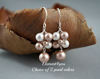 Bridal Earrings, Pearl Cluster Earrings, Bridal Jewelry, Bridesmaids Gifts, Wedding Jewelry, Bridesmaid earring, Ivory Champagne pearls