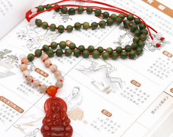 Guanyin compassion unisex necklace - moonstone, serpentine, and agate (BA)