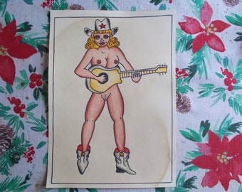 Classic Pin-up Painting,tattoo flash,pin-up art,guitar,cowgirl, vintage pin-up,rockabilly,sailor art,western art,cowboy art,vintage tattoo