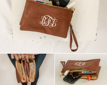 Monogrammed Crossbody Clutch | Vegan Leather | Crossbody Bag | Clutch | Wristlet Wallet | Personalized Gift | Monroe | Mother's Day Gift