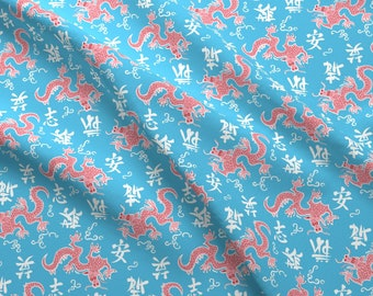 Year Of The Dragon Fabric - Year Of The Dragon On Blue By Tuppencehapenny - Asian Dragon Chinese Cotton Fabric By The Yard With Spoonflower