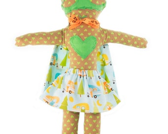 Rag doll-superhero-girl-Super Doudou for kid in printed cotton camping-Miss Green
