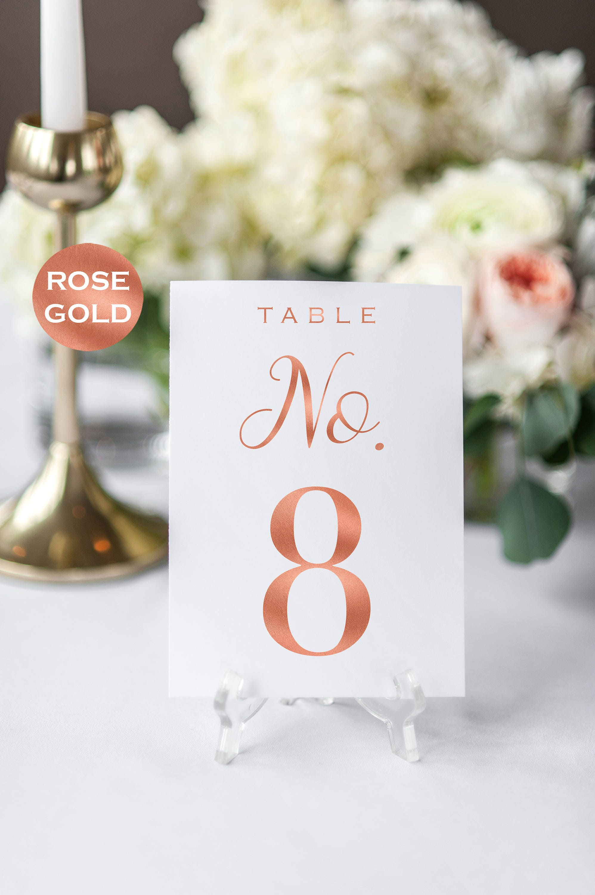 Wedding Table Number Printable Table Numbers Rose Gold