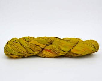 Sari Silk Ribbon Yarn Chartreuse Green, 100 grams (3.5oz), 6 Weight (Super Heavy)