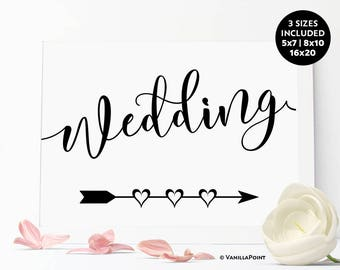 This Way To The Wedding Sign, Wedding Directional Sign Printable Wedding Signs 5x7 8x10 16x20, Wedding Arrow Sign, Wedding Direction Signs