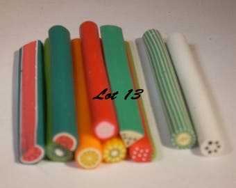 Set of 10 fruit 50 set no. 13 mm polymer clay canes