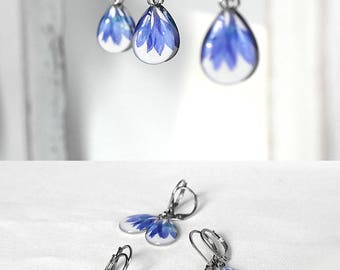 Dangle earrings Blue drop earrings Teardrop earrings for bridesmaid gift earrings Beauty gift|for|her Petal earrings for daughter gift wife