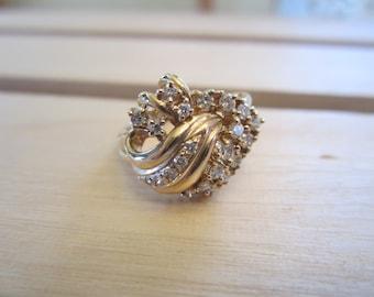 14k Yellow Gold Diamond Cluster Ring, Diamond Ring, Dinner Ring, April Birthstone