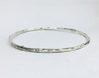 silver branch bangle bracelet, twig bangle bracelet - botanical branch bracelet, twig bracelet, stackable bracelet, nature jewelry
