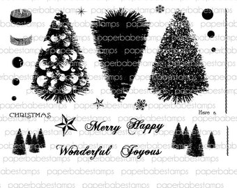 Bottle Brush Tree Stamp Set - Paperbabe Stamps - Clear Photopolymer Stamps - For paper crafting and scrapbooking.