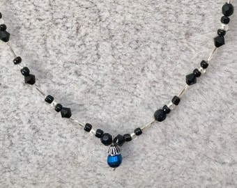 Black and Silver Necklace with Dark Blue Charm