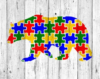 Puzzle Bear - Supporting Autism SVG