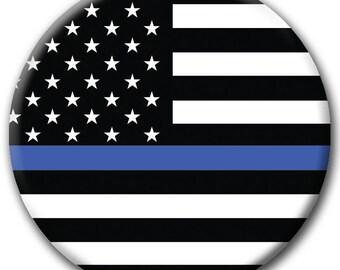BLUE LIVES MATTER Police Flag Button - Support Law Enforcement - blm