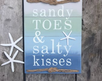 beach sign, sandy toes, salty kisses, beach quotes, starfish, beach decor, cottage decor, wooden sign, wall hanging, the blue barnette