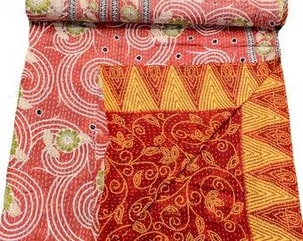 A Vintage Handmade Kantha Quilt, Boho Bedding, Vintage quilt, Kantha Throw, Reversible Quilt VKQ1700