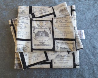 Snack Bags Reusable with Food Safe Lining Wine Labels on Black