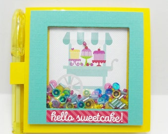 Sweet cake cart sticky note holder with pen, Sequin Shaker, dessert cart, Kawaii gift set