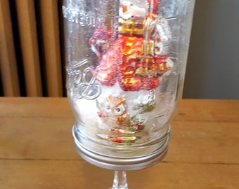 Waterless Snowglobe Snowman Mason Jar Ornament Holiday Decor Red White