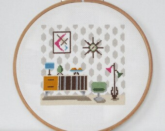 Retro Livingroom Cross Stitch Pattern-midcentury furniture, Atomic Age, egg chair, PDF, instant download