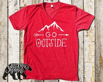 Go Outside V Neck Tee ~ Available in 3 Styles & Vintage Colors