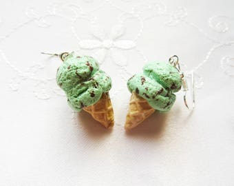 Ice Cream Cone Earrings, Food Earrings, Mint Chocolate Chip, Cute, Polymer Clay, Earrings, Kawaii , Sweet Lolita