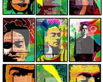 Frida Kahlo 9 hand painted ATCs images..... A4 digital download collage sheet