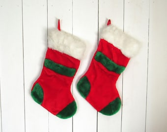 Vintage Christmas Stockings 90s Fuzzy Large Red Green and White Stockings