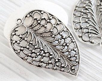 Filigree leaf pendant, large silver pendant, metal pendants, silver filigree, leaf, filigree pendant, filigree findings, tribal leaf pendant