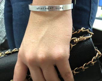 """CUSTOM Hand Stamped Personalized Bangle Cuff - 1/4"""" wide"""