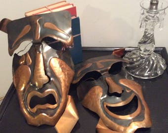 Extra Large Pair Vintage Copper Theatre Masks Comedy and Tragedy Collectible Masks Rustic Decor ManCave Housewarming Gift  Collectible Art