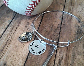 Baseball/Softball Fan Bangle Bracelet