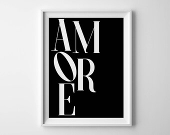 Amore print Italian poster Amore poster Amore printable Italian quote Love print Amore sign Monochrome quote Fashion poster Heart typography
