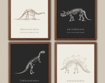 Dinosaur Wall Art - Kids Dinosaur Art - Baby Boy Nursery Art - Dinosaur prints - Playroom Wall Decor - Natural History - Boys Room Decor