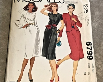 70s Dress Sewing Pattern / Vintage 1970s Casual Pullover Dress & Lined Jacket / Misses Size 16, Bust 38 / 6799