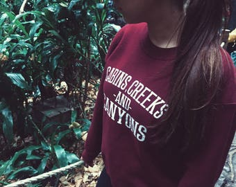 Cabins, Creeks & Canyons Sweater - Sweater - Longsleeve Sweater - Crewneck Sweatshirt