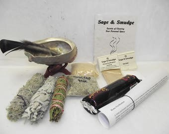 Sage White Smudge House Purification Cleansing Gift Set
