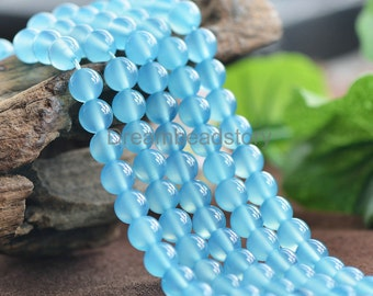 Natural Rare Blue Chalcedony Gemstone Beads, Round 6 8 10 12 14mm Loose Sky Blue Calcedony Beads (JY106)