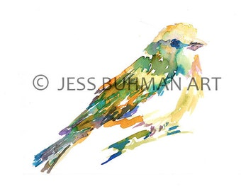 Print of Original Watercolor Painting, Titled: Pretty and Perched by Jessica Buhman Yellow Bird Green Purple Blue