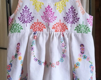 Top a hand painted white linen